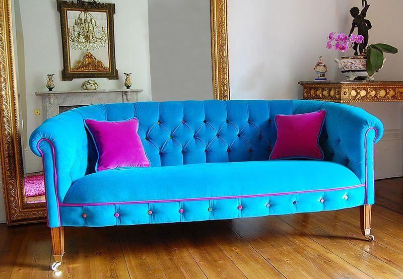 Casapinka Turquoise Velvet Couch