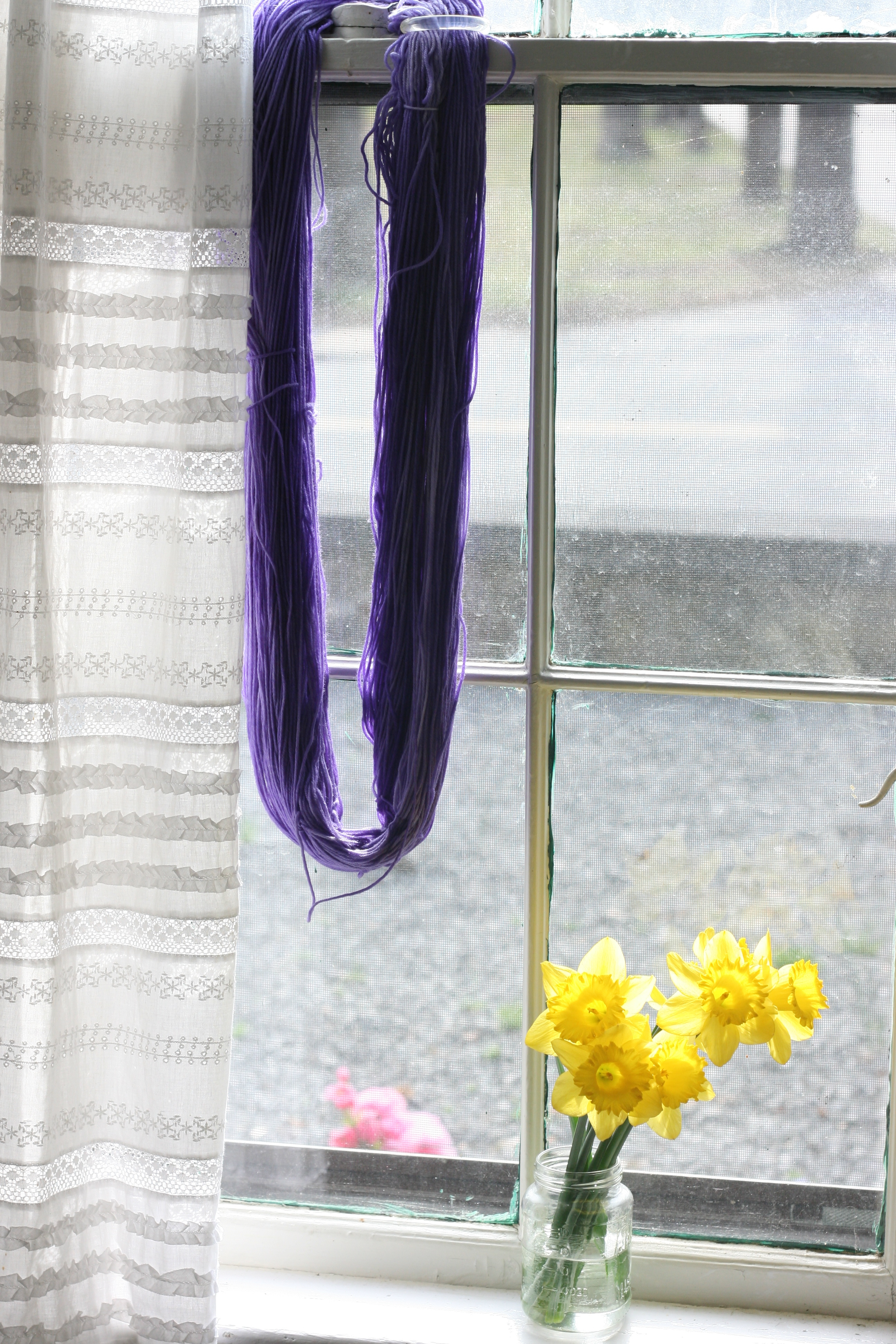 Here You Can See Lilac Colored Yarn Drying